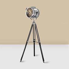 Декоративный металлический прожектор-торшер c хромированным плафоном в стиле лофт, фото 2