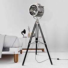Декоративный металлический прожектор-торшер c хромированным плафоном в стиле лофт, фото 3