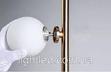 Бронзовый металлический торшер с белыми плафонами вокруг, фото 3