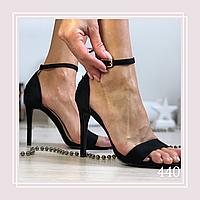 Женские босоножки на высоком каблуке шпильке, черная замша
