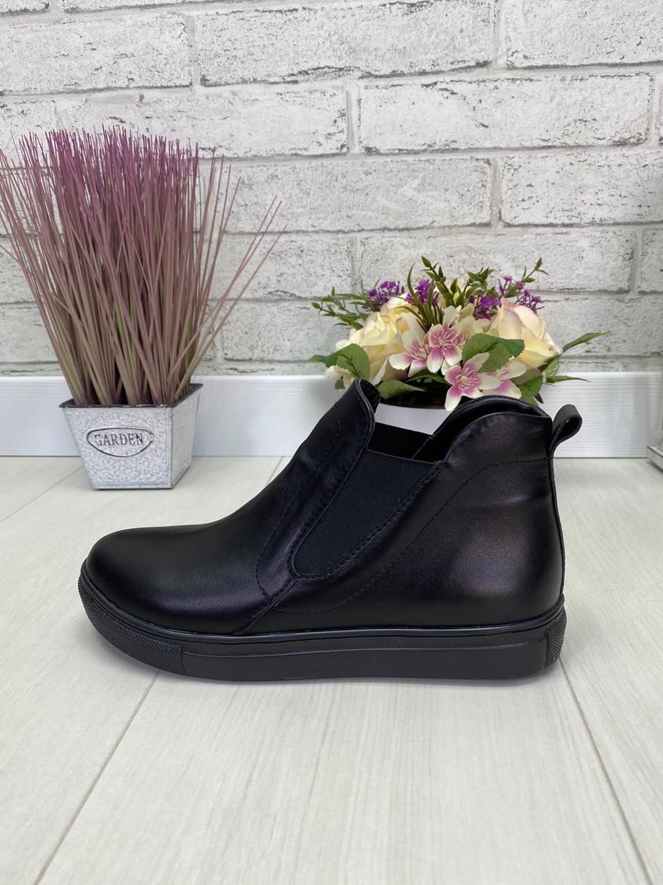 39 р. Ботинки женские деми черные кожаные на низком ходу, демисезонные ,из натуральной кожи, натуральная кожа
