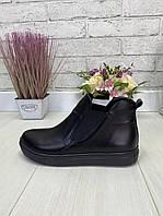 39 р. Ботинки женские деми черные кожаные на низком ходу, демисезонные ,из натуральной кожи, натуральная кожа, фото 1