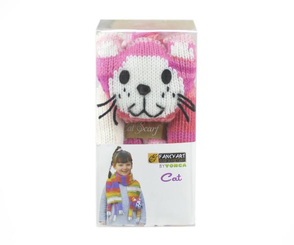 Набор для вязания Yonca Fancy Art шарф, кошка, розовый меланж