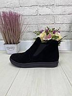 37 р. Ботинки женские деми черные замшевые на низком ходу, демисезонные, из натуральной замши, замша, фото 1