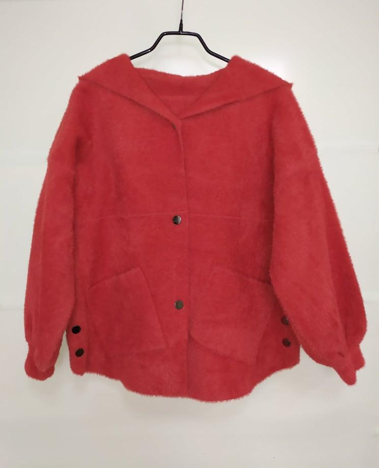 Кардиган Альпака короткий с капюшоном 44-50р, красный