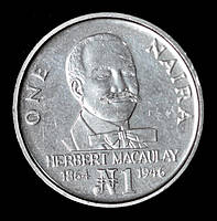 Монета Нигерии 1 найра 1991 г. Герберт Маколей