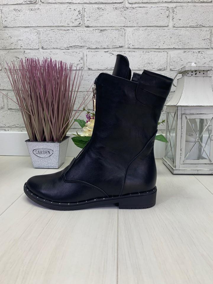 36 р. Ботинки женские деми черные кожаные на низком ходу, демисезонные, из натуральной кожи, кожа
