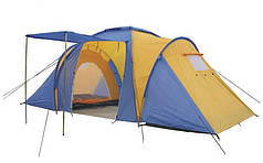 Палатка кемпинговая 4-х мест 2-х комн с тентом и тамбуром FAMILY (2,1x(1,4+1,7+1,4)х1,7м) PZ-SY-100804