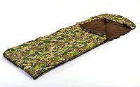 Спальный мешок одеяло с капюшоном камуфляж UR (320г на м2, р-р 190+30х75см, от +5 до-17)