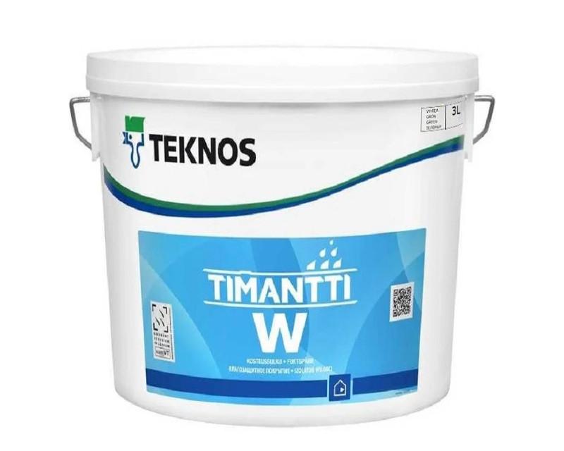 Грунт паронепроницаемый TEKNOS TIMANTTI W для влажных помещений прозрачно-зеленый 3л