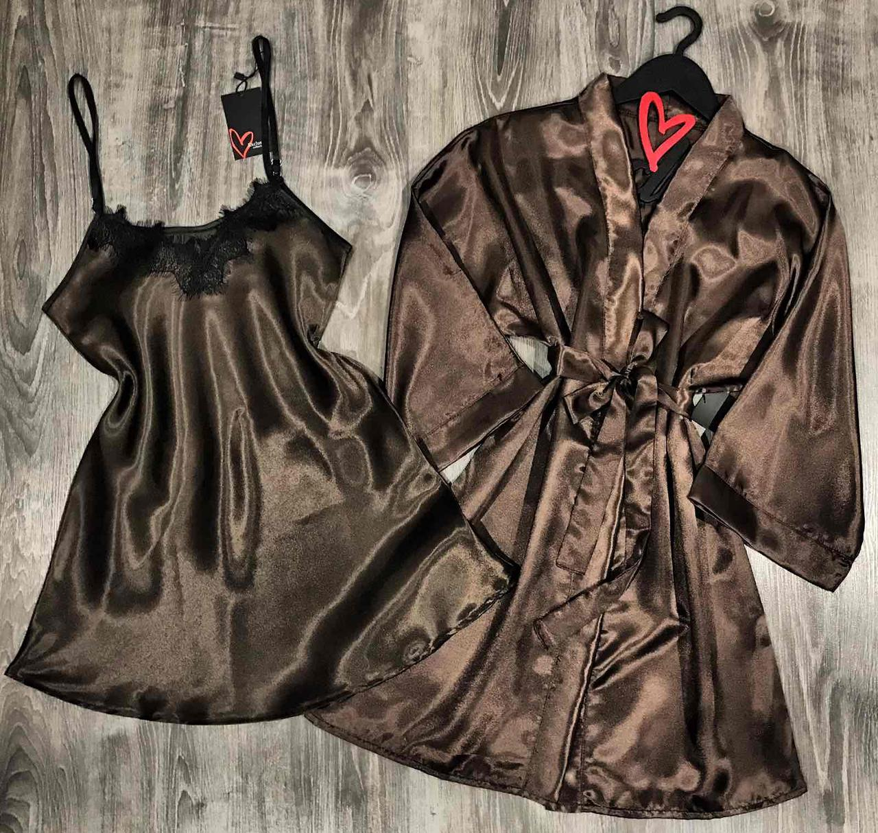Коричневый комплект домашней одежды халат+пеньюар.