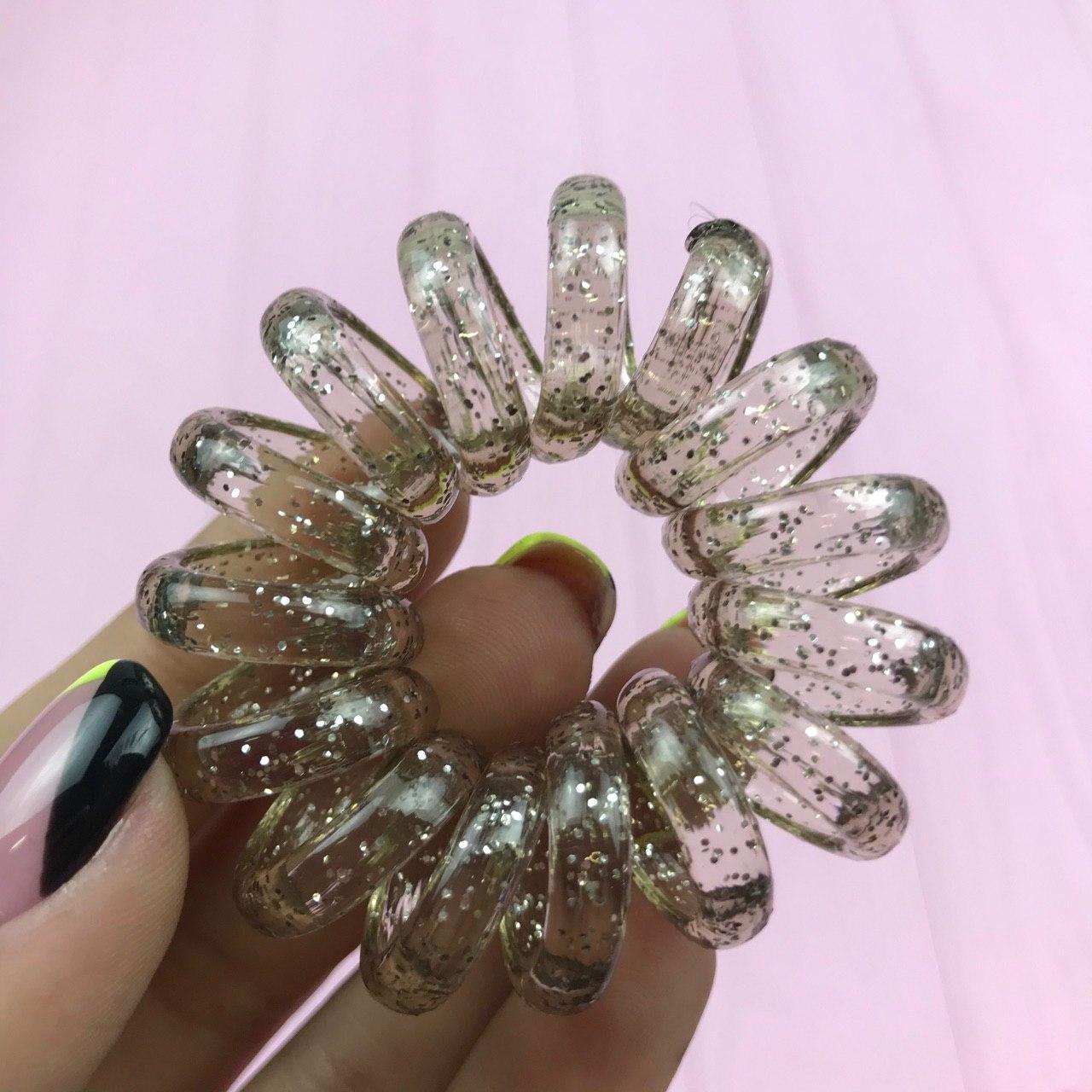 Резинки для волос прозрачные с блестками Пружинки Браслет City-A 1 шт Серебрянная