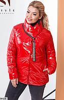 Женская стильная демисезонная куртка Красный, 56-58