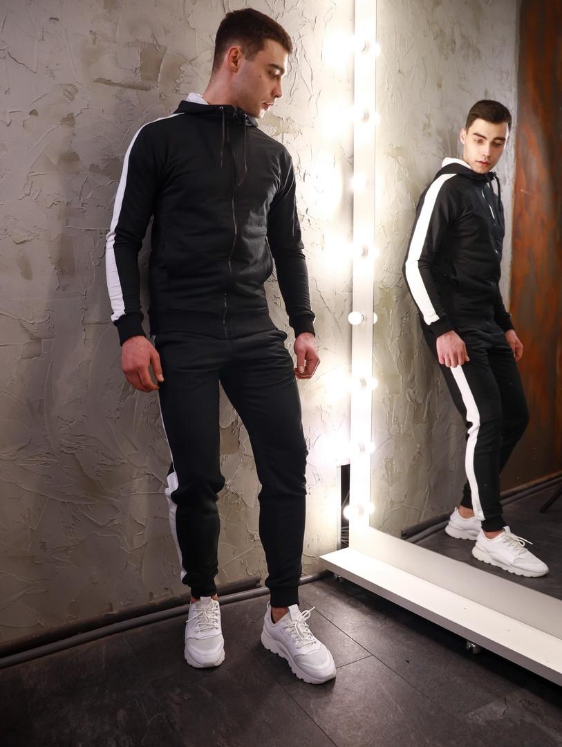 Олімпійка чоловіча на блискавці + штани з лампасами. Чоловічий спортивний костюм чорного кольору.