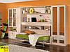 Стенка в спальню или гостинную с стол-кроватью, фасады с  зеркалами