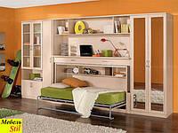 Стенка в спальню или гостинную с стол-кроватью, фасады с  зеркалами, фото 1