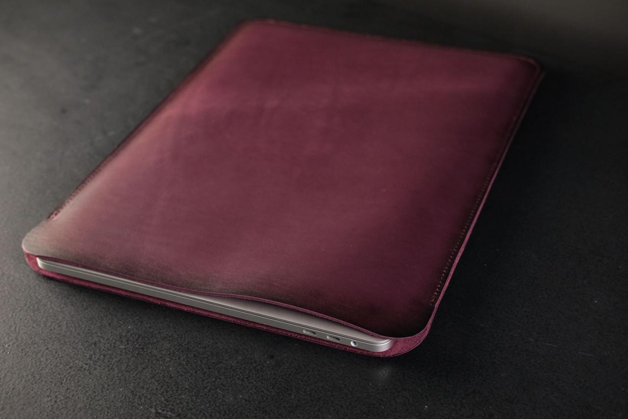 Чохол для MacBook Шкіра Італійський краст колір Бордо