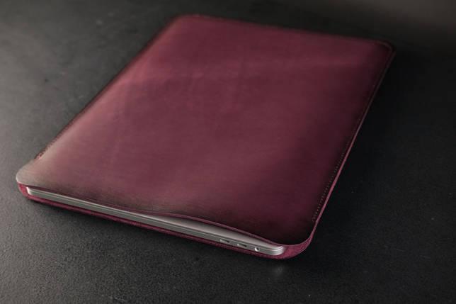 Чохол для MacBook Шкіра Італійський краст колір Бордо, фото 2