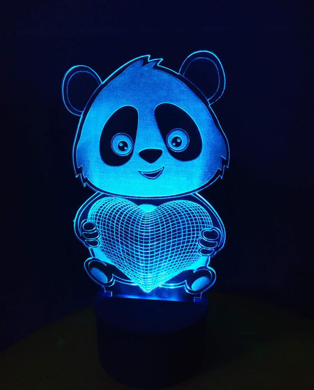 3d-светильник Панда с сердцем, 3д-ночник, несколько подсветок (батарейка+220В)