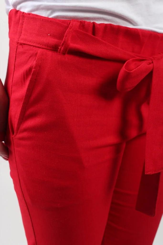 Брюки женские №384R лён красные. Оптом