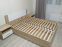 Кровать с тумбами Маркос 160х200 дуб самоа с ламелями Мебель Сервис