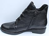 Ботинки женские черные кожаные демисезонные на низком каблуке от производителя модель СФ111, фото 3