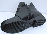 Ботинки женские черные кожаные демисезонные на низком каблуке от производителя модель СФ111, фото 4