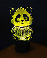 3d-светильник Панда с сердцем, 3д-ночник, несколько подсветок (на пульте)