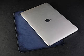 Чохол для MacBook Шкіра Італійський краст колір Синій, фото 3