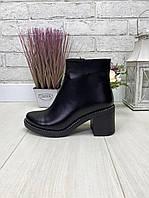 40 р. Ботинки женские деми черные кожаные на среднем каблуке, демисезонные, из натуральной кожи, кожа, фото 1
