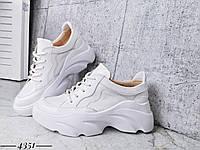 Стильные кроссовки из натуральной кожи  36-40 р белый, фото 1