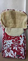 Спальный мешок-конверт на натуральной овчине Original WOMAR № 8 Early spring(excluzive) красные цветы