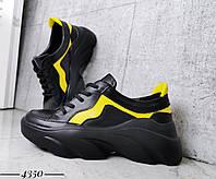 Стильные кроссовки из натуральной кожи  36-40 р чёрный+желтый, фото 1
