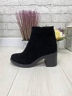 38 р. Ботинки женские деми черные замшевые на среднем каблуке, демисезонные, из натуральной замши, замша, фото 1