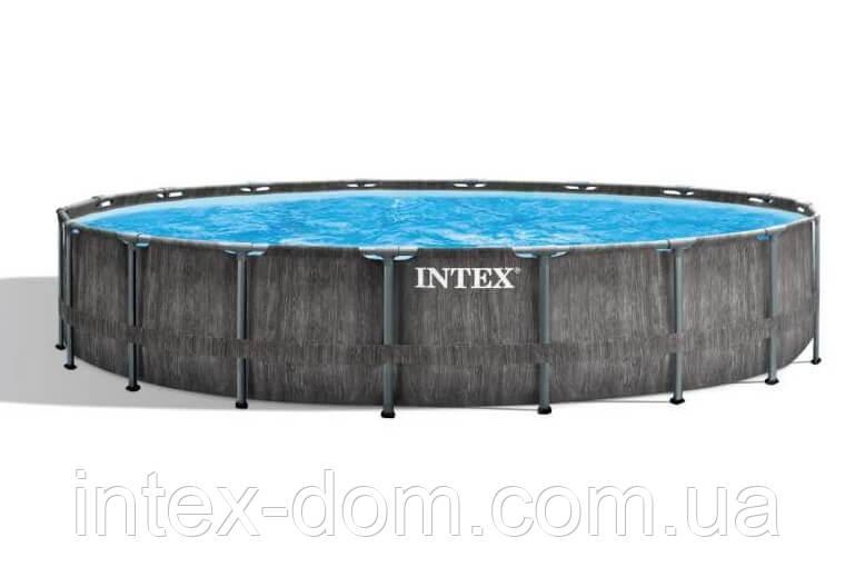 Каркасний басейн Intex 26742, (457 x 122 см) (Картріджний фільтр-насос 3 785 л/год, сходи, тент, підстилка)