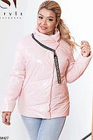 Женская стильная демисезонная куртка Розовый, 46