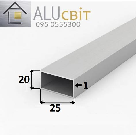 Труба профильная прямоугольная алюминиевая 20х25х1 анодированная серебро, фото 2