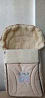 Детский конверт на натуральной овчине № 8 Early spring(excluzive) Original tm Womar (Zaffiro) светло-бежевый