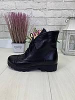 40 р. Ботинки женские деми черные кожаные на низком ходу, демисезонные, из натуральной кожи, кожа, фото 1