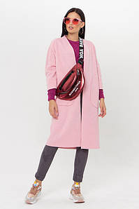 Женский кардиган трикотажный удлиненный светло-розовый