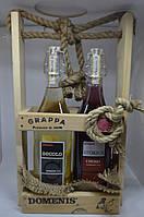 Подарочный набор виноградная водка Граппа Secolo Domenis + Cherry 45% 2 л Италия, фото 1