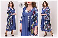 Модное  женское  платье свободного кроя в стиле бохо  батал 64-70  размер