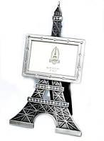 """Фоторамка """"Эйфелева башня"""" металлическая кованая с кристаллами 18х9 см"""