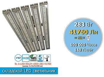 Промышленный LED светильник светодиодный для высоких потолков 283 Вт, 41760 Лм, IP65