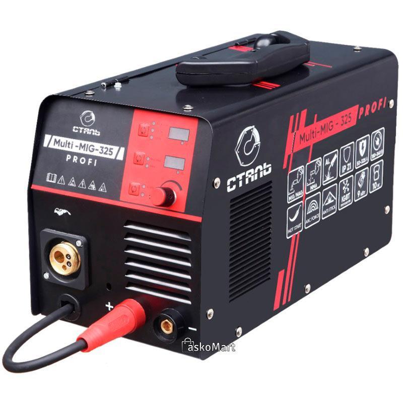 Зварювальний інверторний напівавтомат 9 кВт Сталь Multi-MIG-325 Profi (89493)