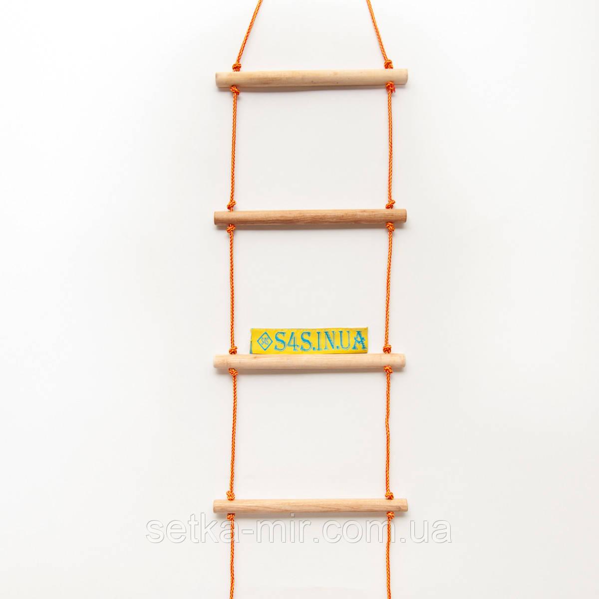 Лестница подвесная детская верёвочная лестница для шведской стенки деревянная «ЭКОНОМ. БОГАТЫРЬ»
