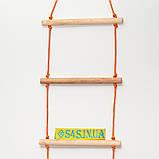 Лестница подвесная детская верёвочная лестница для шведской стенки деревянная «ЭКОНОМ. БОГАТЫРЬ», фото 3