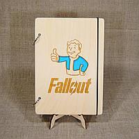Скетчбук Fallout. Блокнот с деревянной обложкой.