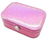"""Шкатулка """"Блеск"""" для украшений, кожзам, цвет розовый, 18-12-6 см."""
