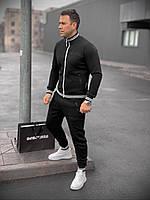 Мужской зимний черный спортивный костюм с надписью Доберман